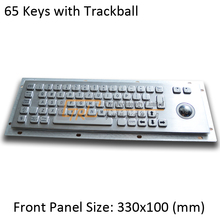 Compact metal keyboard with Optical trackball, metallic industrial keyboard, 65 keys kiosk keyboard