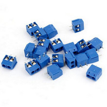 20pcs/lot Brand New 2 Pin Blue Connect Terminals Block 5.0mm Pitch Connector Screw Terminal Connector Applied to PCB Wiring(China)