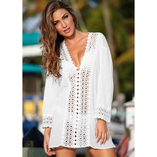2018 WOMEN LACE CROCHET BIKINI BEACHWEAR COVER UP Hollow Out V-Neck BEACH DRESS SUMMER Cover-Ups(China)