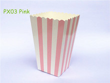 12pcs/lot Mini Pink Stripe Party Paper Popcorn Treat Boxes Pop corn Favor Bags Wedding Kids Birthday Holiday Party Supplies