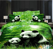 Home Textiles 3D Bedclothes Pandas 4PCS Bedding Set  King Or Queen