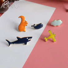 AOMU 5 pcs/set Fashion Brooch Pins Button Squirrel Cat Plane Clouds Denim Jacket Pin Badge Cartoon Jewelry Gift