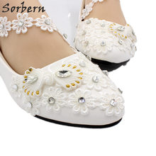 Sorbern Flower Appliques Flat Wedding Shoes Off White Pearl Decorated Flat  Bridal Shoes Flats Chinese Knot Women S Colorful Shoe 29b5be79e5ce