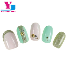 New Oval Fake Nail Art Tips  Shell Golden Metallic Decorated Full Cover Nail Tips Kids Nails Short  UV Gel Nail Tips With Glue