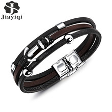 Buy Jiayiqi Vintage Anchor Bracelet Men Black Genuine Leather Rope Stainless Steel Bangles Multi Layer Fashion Jewelry Men for $5.76 in AliExpress store