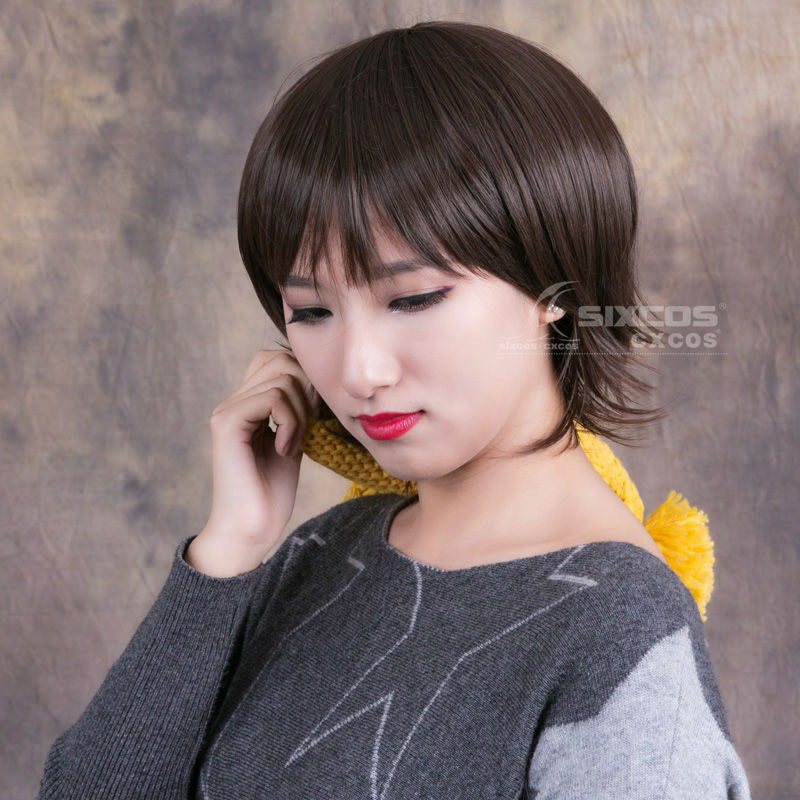 Free Shipping Women Men Dark Brown Short Straight False Hair With Bang Full Lace Synthetic Cosplay Natural Daily Wigs Souseiseki<br><br>Aliexpress