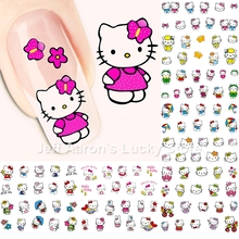 12 Sheets Hello Kitty nail art stickers nails decorations accessoires beauty manicure tools A769-780(China)