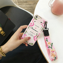 LUDI New Korean Flamingo Embroidery Flowers Wrist Strip Case for iPhone 7 Case for iPhone 7 6 6S PLus Hipster Soft TPU Cover