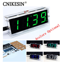 CNIKESIN 2PCS DIY clock Digital clock production suite voice timekeeping , DIY SCM training electronic watch 4colors (optional(China)