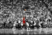 Michael Jordan Poster Last Shot 1998 Colorized basketball art silk Fabric print 60x90(China)