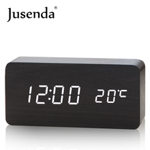 LED Cube Wooden Clock Voice Control Electronic Table Clock LED Digital Desk Watch Nixie Radio For Children Bedside Alarm Clock