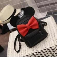 Mickey Backpack 2017 New PU leather Women's bag Teen Girls Backpacks Cute Animals ears Sweet Bow Wild School Female Mickey Bag(China)