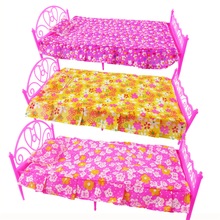 1 Set 3 Items Barbie Doll's Bed Furniture ( Bed+Pillow+Bed Sheet) Doll Accessories For Barbie Doll Play House Girl Gift Kid Toys