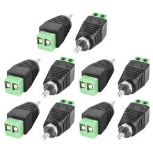 HFES Coax Cat5 Cat6 to RCA Male CCTV Camera Audio Balun Connector 10 Pieces Black with Green(China)