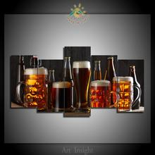 5 Pieces Beers Picture Modern Wall Art Pictures HD Printed Canvas Painting Modular Pictures HD Paints Home Decoration(China)
