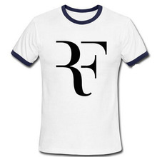 Personalized Roger Federer  t shirts Fashion Men Tee Shirt Top Cotton RF logo printed t-shirt
