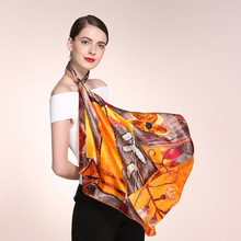 100% Mulbery Silk Scarf Women 88*88 Large Square Scarves Crepe Satin Plain Colorful Summer Sunscreen Wraps Bandana Foulard HA797