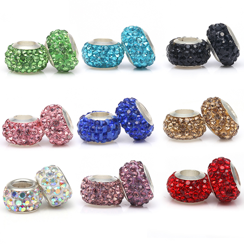 Rhinestone Out Line Mickey Mouse  Dangle Charm For European Bracelets//necklaces