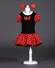 Lowest price FREE SHIPPING Girl Minnie Dress Child Kids Dot Red Gauze Fashion Cute Clothes with Hair band new arrival