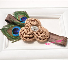 50pcs/lot champagne Satin flower headband with peacock feather, ostrich feathers, and pearl and rhinestone middle