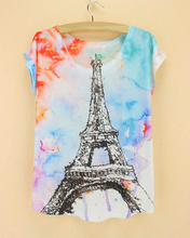 graffiti wall scrawl eiffel tower black women clothing tops new arrival polyester good quality  tie dye women tshirts
