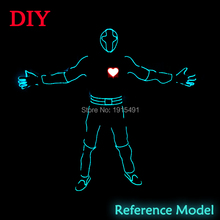 Masquerade Led Bulbs Diy America Heartbeat Men Costume as Fluorescent Party Props EL Wire Cold Light Flashing Trendy Clothing(China)
