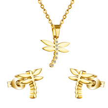 New Arrival Hot Selling,Dragonfly Zircon Necklaces And Earrings Jewelry Sets,316 Stainless Steel Sets,Fin Jewelry,Free Shipping