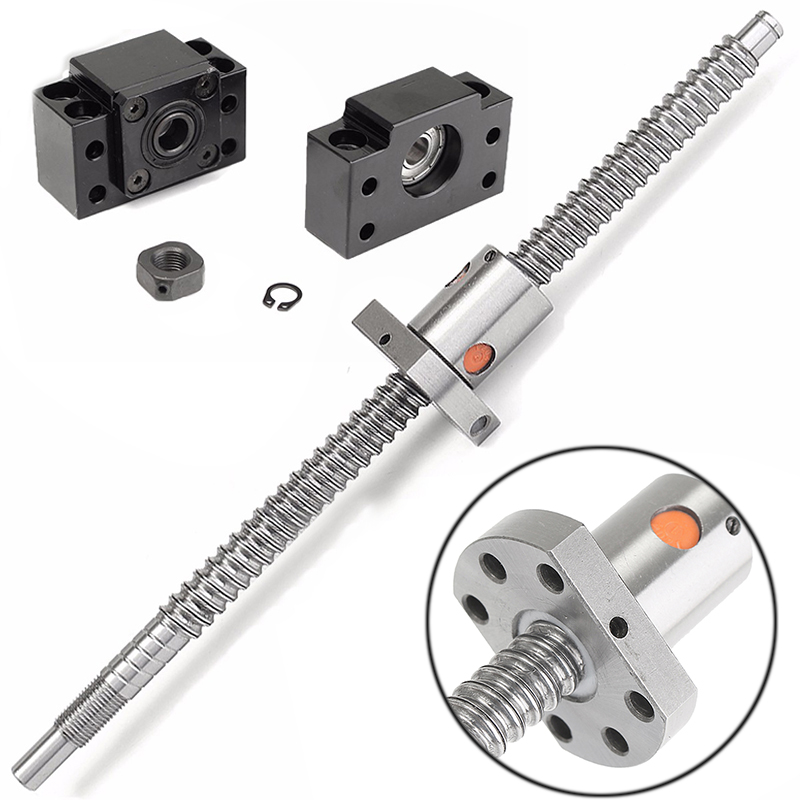 1 Set Anti Backlask Lead Screw Ballscrew SFU1204 12mm L250mm Ball Screw + End Machining BF/BK10 Support Kit + Fittings Mayitr<br>
