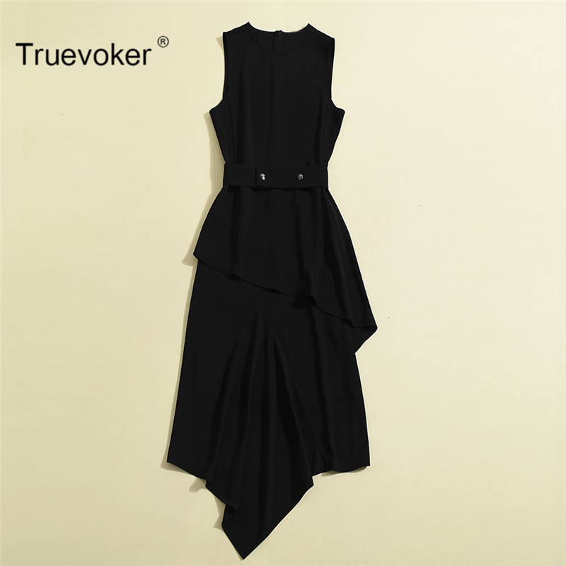 Truevoker Europe Designer Summer Dress Women's Sleeveless Pure Black / White Ruffle Irregular Mid Calf Celebrity Fashion Vestido