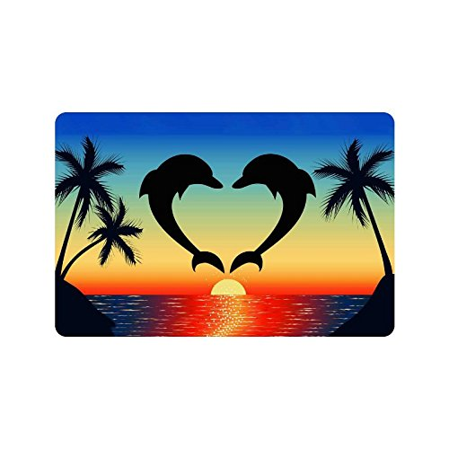 Sunset Sea Dolphin Anti-slip Door Mat Home Decor, Tropical Palm Tree Indoor Outdoor Entrance Doormat Rubber Backing