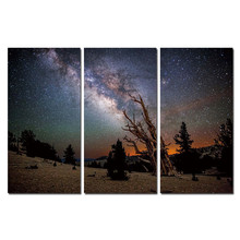 Star Cuadros Decoracion Romantic Canvas Printings Wall Pictures For Living Room Modern Frameless Night Sky 3 Panels Wall Art