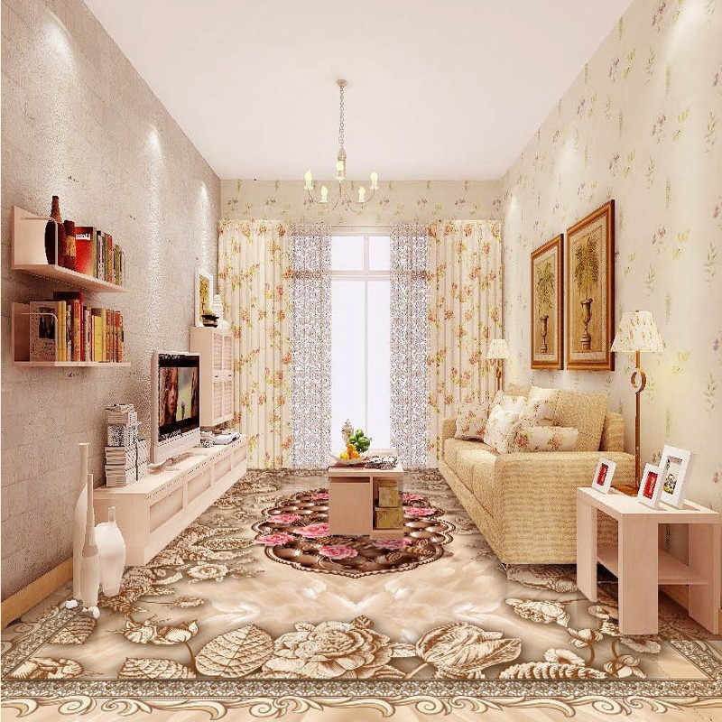 Free shipping custom High-end classic marble pattern hand-painted rose 3D floor thickened waterproof living room floor wallpaper<br>