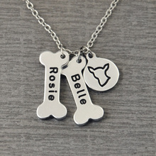 Chihuahua Dog Necklace,Personalized Dog Bone Collar,Bones and Dog Breeds Print Collar,Custom Bones Charm
