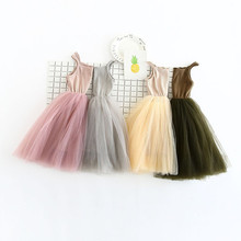 Solid Color Girls Chiffon Dress Toddler Kids Cotton Braces Match Dress 4 Layers Chiffon Tutu Dress D0151(China)