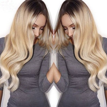 Fashion Long Wave Blonde Ombre Wig Dark Roots Synthetic None Lace Front Wigs Heat Resistant Black/BlondeTwo Tone Hair For Women