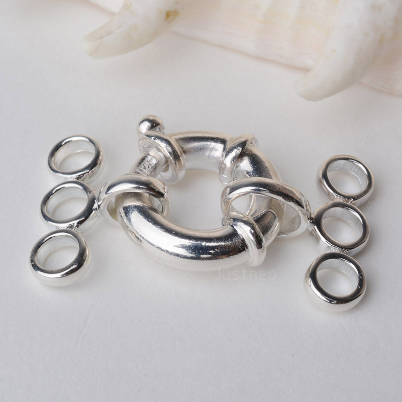 3 x 925 Sterling Silver 5mm Open Bolt Ring Jewellery Fastener Making Repairs