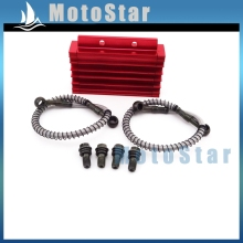 CNC Aluminum Red Oil Cooler For Chinese Pit Dirt Bike Motorcycle 125cc 140cc 150cc Lifan YX Zongshen BSE Kayo CRF50 Thumpstar
