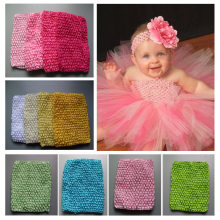 Try order kids Elastic Tutu Tube Waffle Headbands 6 Inch Crochet Top headwears 14x15cm 6pcs/lot Freeshipping(China)