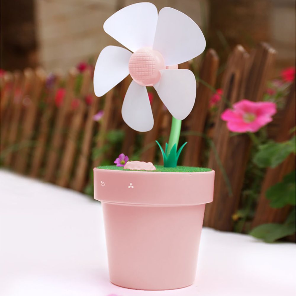Cute Mini Flower Pot USB Fan Humidifier Portable Cooling Fans Spraying Humidifiers Home Office Water Mist Maker Ventilador<br>