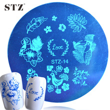 1PCS Nail Stencils New Owl/Chick/Leaf Polish Transfer Printing Nail Art Stamp Templates Fashion Round Plates STZ14
