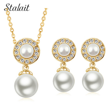 2016 women brand bridal Kate queen  Gold Color Simulated round Pearl pendant Necklace Earrings Jewelry sets