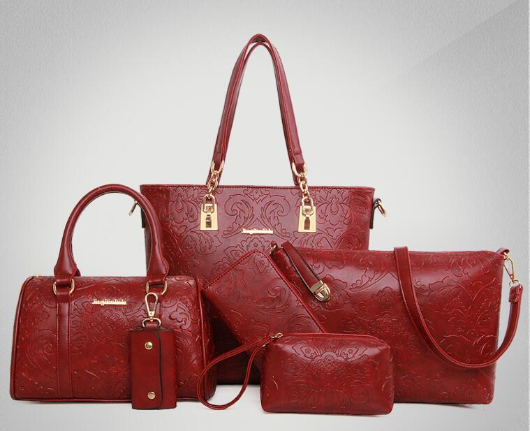European and American retro composite Bag classic ladies Embossing handbags 6 sets shoulder women messenger high quality leather<br>