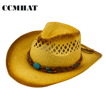 Natural Men's Cowboy Hat Summer Casual Style Blue Beads Decoration Women's Cowboys Hats Caps Hollow Hand-Compiled New Straw Hats