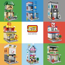 2017 new LOZ Mini Blocks Street Shop DIY Building Toys Cute Micro Store coffee Model Toy for Christmas Gift Kids Toys 1601-1608