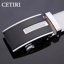 2017 Men's Belts Automatic Buckle Belt designer cinturon hombre White Fashion Genuine Leather belt men waistband With Gift box(China)