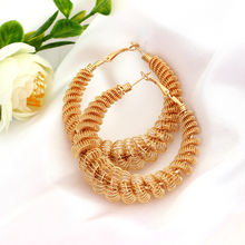 MINHIN Fashion Spiral Design Huge Hoop Earrings Punk Rock Alloy Women Earrings Delicate Costume Earring Drop Ship Jewelry(China)