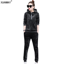 Women Winter Suits Velvet Tracksuits Printed letters Hoodies Tops Long Pants Flannel Sporting Suits