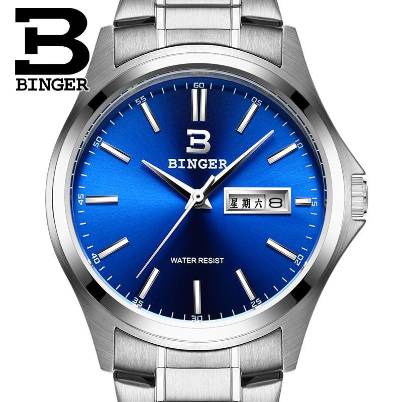 2017 Switzerland luxury watch men BINGER brand quartz full stainless clock Waterproof Complete Calendar Guarantee B3052B7<br>