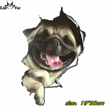 3D pug dog car Stickers For Laptop Decal Fridge Skateboard Kids Gift Kitchen Cute Home Decor Broken waterproof Cute Vinyl Decal(China)