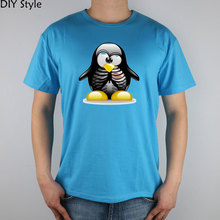 LINUX Skull penguin  T-shirt Top Lycra Cotton Men T shirt New Design